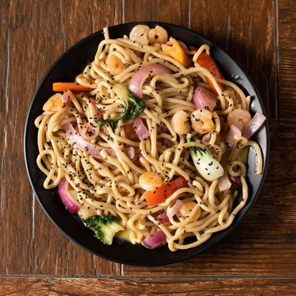 Orange Sesame Shrimp noodles